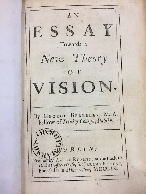 "Front Page of ""An Essay Towards a New Theory of Vision"", George Berkeley, Trinity College, 1709 (image)"